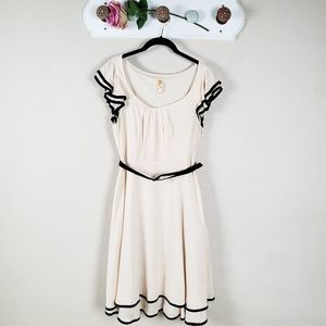 Mauve Layered Flare Belted Cream Black Trim Dress